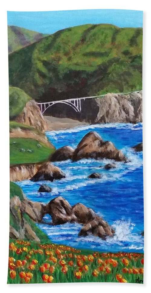 California Coastline Beach Towel featuring the painting California Coastline by Amelie Simmons