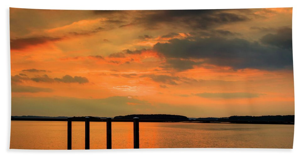 Calibogue Sound Beach Towel featuring the photograph Calibogue Dock by Phill Doherty