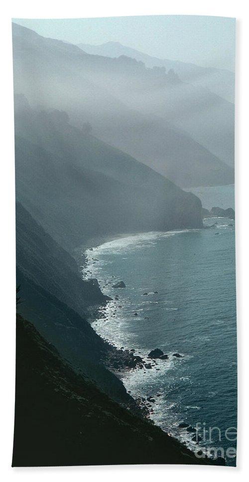 California Coastline (photo) Coast; Californian; Rocks; Rocky; Cliffs; Breakers; Surf; Sea; Bird's Eye View; Fog; Mist; Misty; Inlets; Landscape; Coastal; Pacific; Ocean; Atmospheric; Spiritual; Ca Beach Towel featuring the photograph California Coastline by Unknown