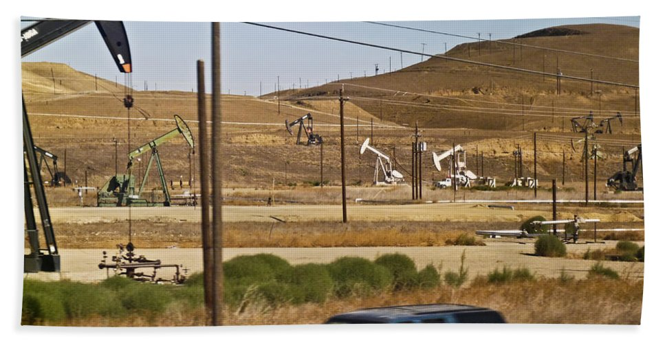 California Beach Towel featuring the photograph California Oil Field 14pdxl077 by Howard Stapleton
