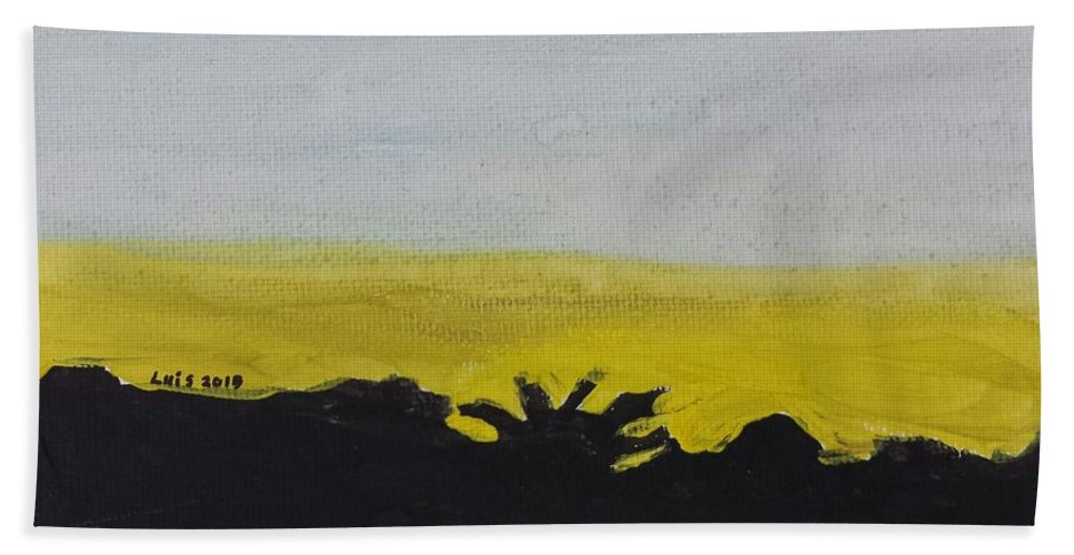 Landscape Beach Towel featuring the painting California Sunset by Epic Luis Art