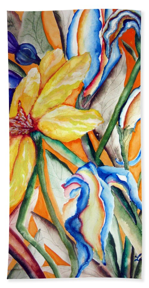 Flower Music Beach Towel featuring the painting California Wildflowers Series I by Lil Taylor