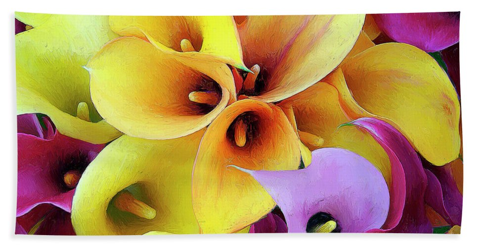 Flowers Beach Towel featuring the painting Calla Lilies by Dominic Piperata