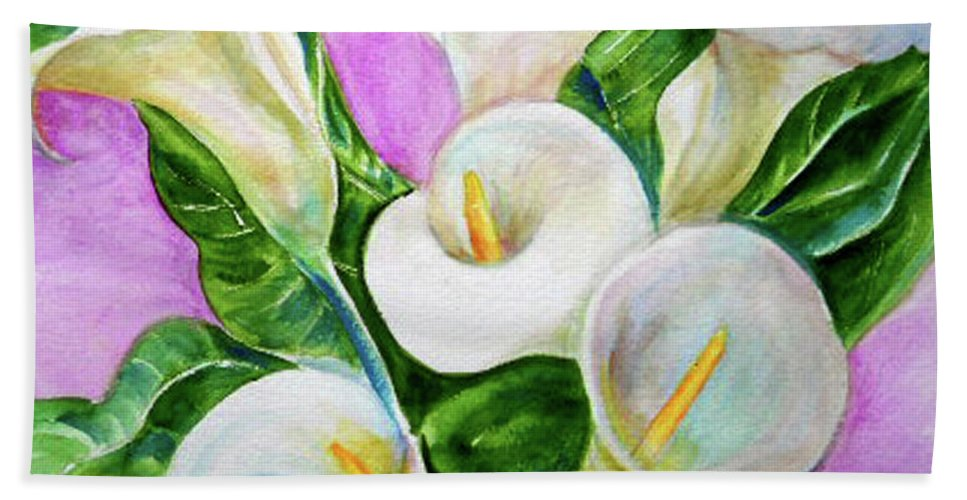 Calla Lillies Beach Towel featuring the painting Calla Lillies 3 by Olga Kaczmar