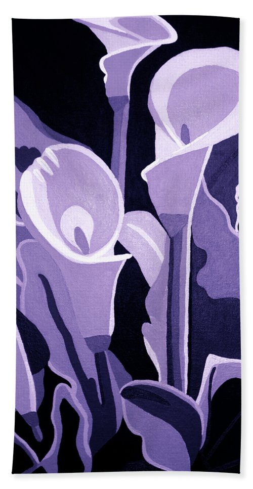 Calla Lillies Beach Towel featuring the painting Calla Lillies Lavender by Angelina Vick
