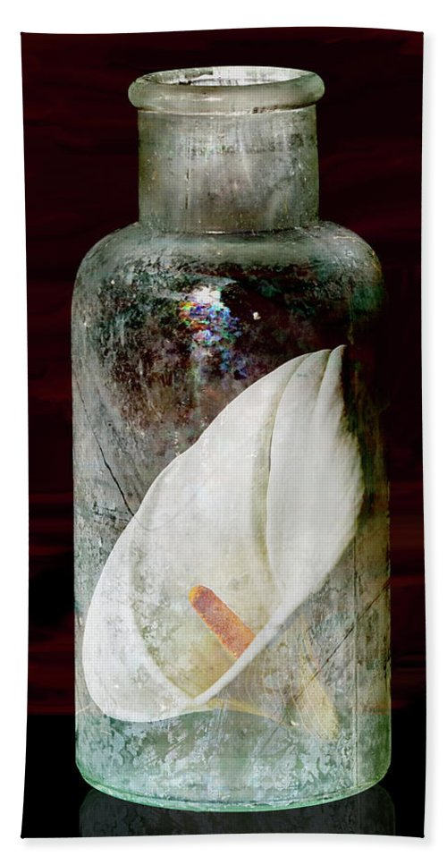 Still Life Beach Towel featuring the photograph Calla Lily In A Bottle by Phyllis Denton