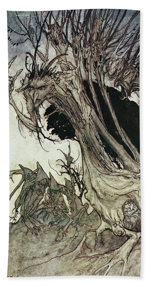 Arthur Rackham Beach Towel featuring the drawing Calling Shapes And Beckoning Shadows Dire by Arthur Rackham