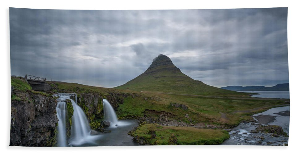 Kirkjufellsfoss Beach Towel featuring the photograph Calm Before The Storm At Kirkjufell by Michael Ver Sprill