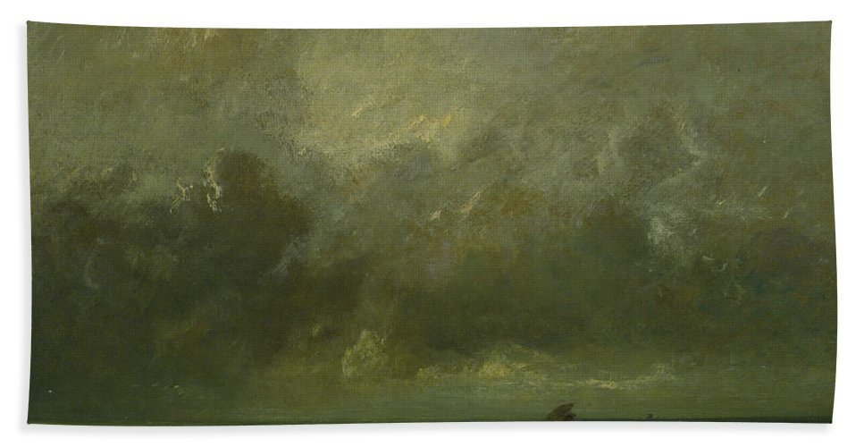 French Art Beach Towel featuring the painting Calm Before The Storm by Jules Dupre