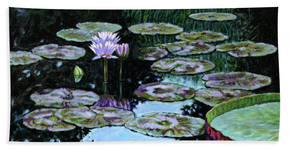 Water Lilies Beach Towel featuring the painting Calm Reflections by John Lautermilch