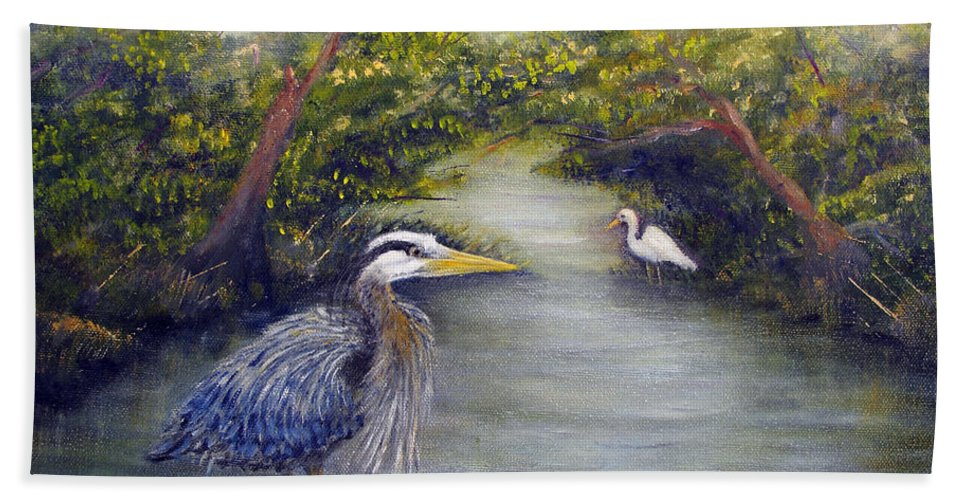 Heron Beach Towel featuring the painting Calm Waters by Loretta Luglio