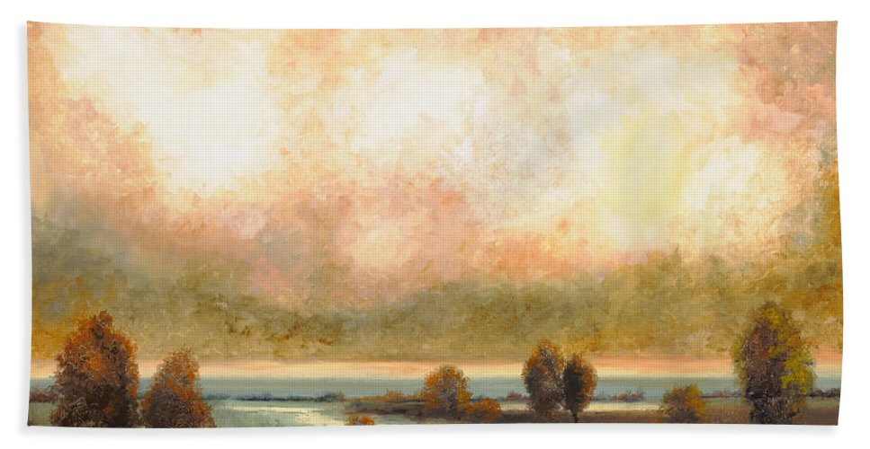 Pond Beach Towel featuring the painting Calor Bianco by Guido Borelli