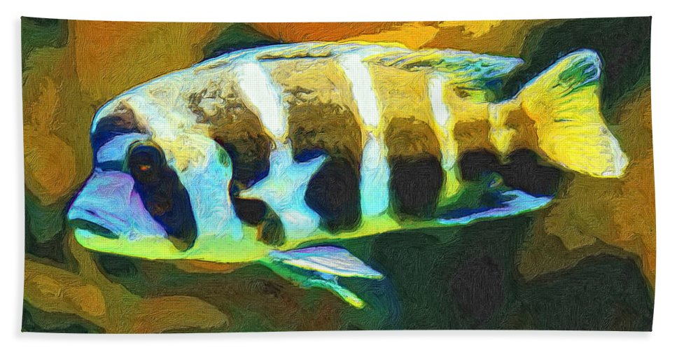 Fish Beach Towel featuring the painting Calvin by Dominic Piperata