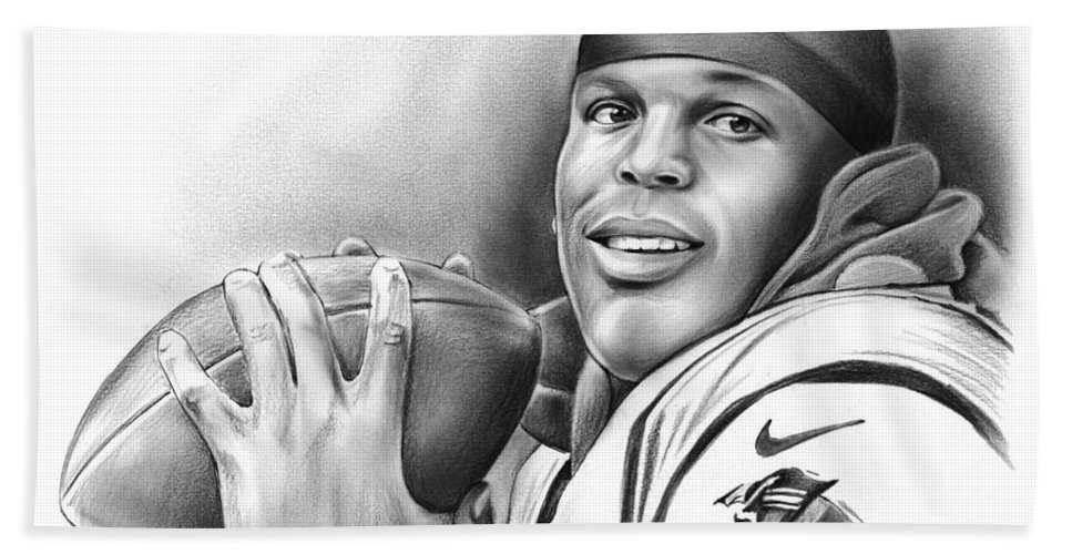 Cam Newton Beach Towel featuring the drawing Cam Newton by Greg Joens