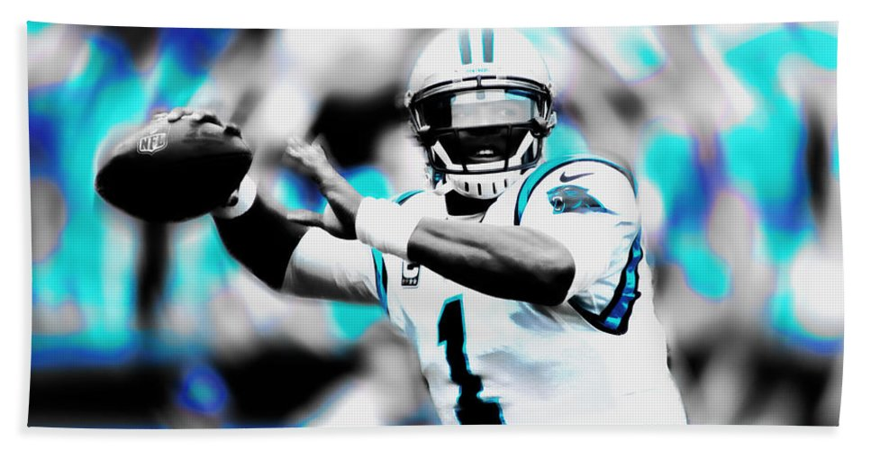 Cam Newton Beach Towel featuring the mixed media Cam Newton Letting It Fly by Brian Reaves