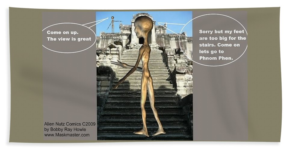 Space Art Alien Nutz Comics Beach Towel featuring the mixed media Cambodia 3 by Robert aka Bobby Ray Howle
