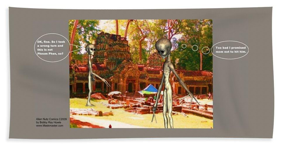 Alien Nutz Space Art Comics Beach Towel featuring the mixed media Cambodia 4 by Robert aka Bobby Ray Howle