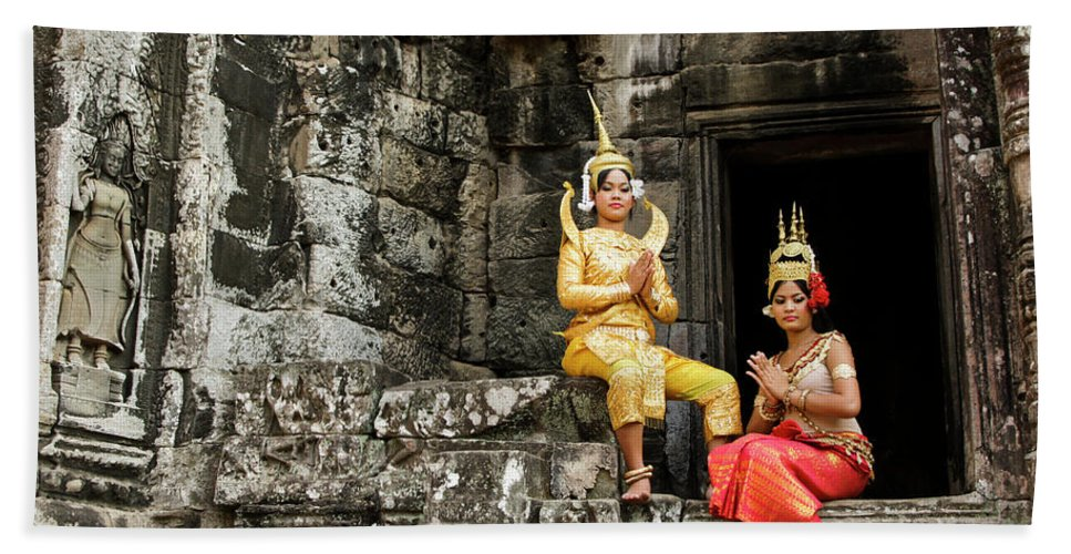 Asia Beach Towel featuring the photograph Cambodian Dancers At Angkor Thom by Michele Burgess