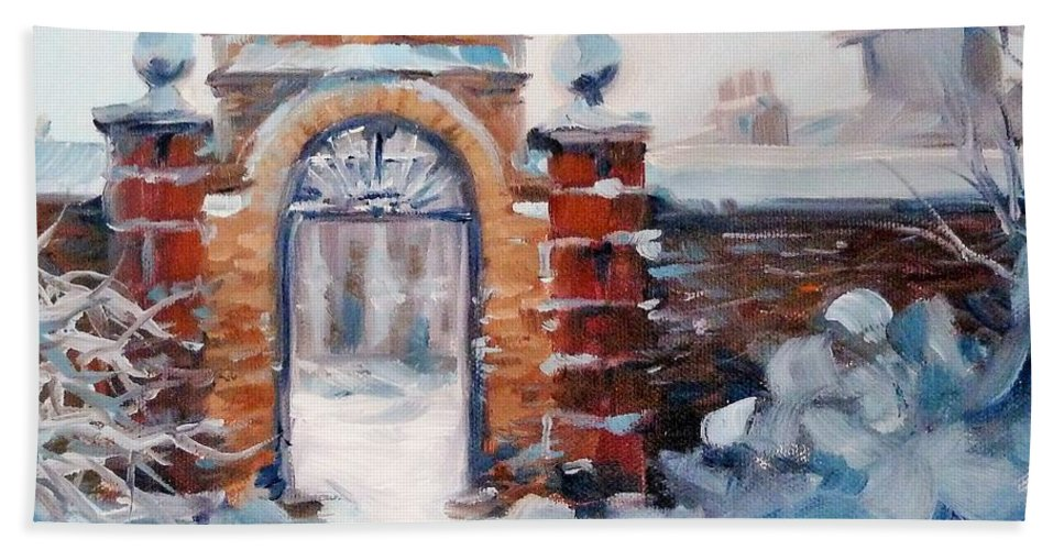 Landscpe Beach Towel featuring the painting Cambridge In Snow by K M Pawelec