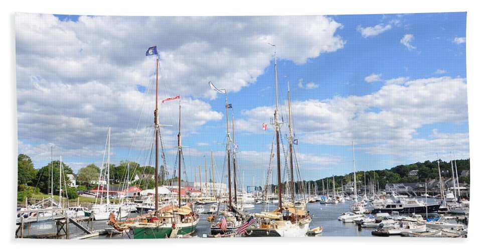 Boats Beach Towel featuring the photograph Camden Maine Harbor by Glenn Gordon