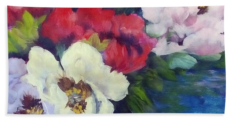 Flowers Beach Towel featuring the painting Camellias by Angelina Whittaker Cook