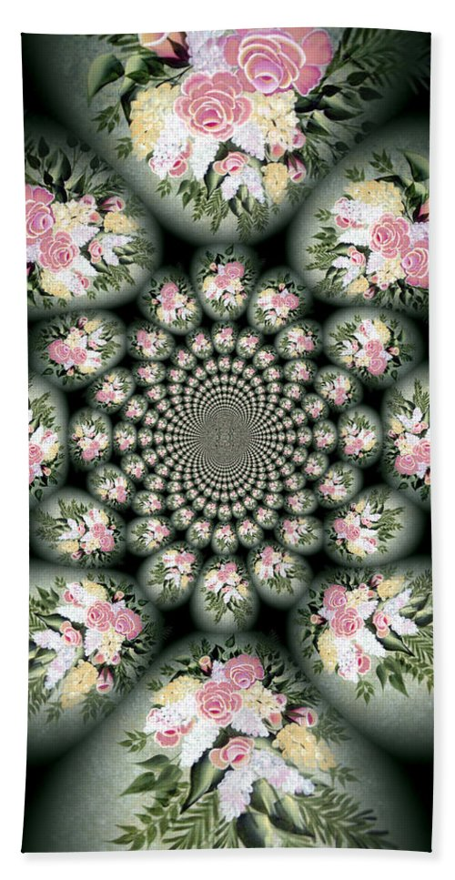 Cameo Bouquet Beach Towel featuring the digital art Cameo Bouquet by Barbara Griffin