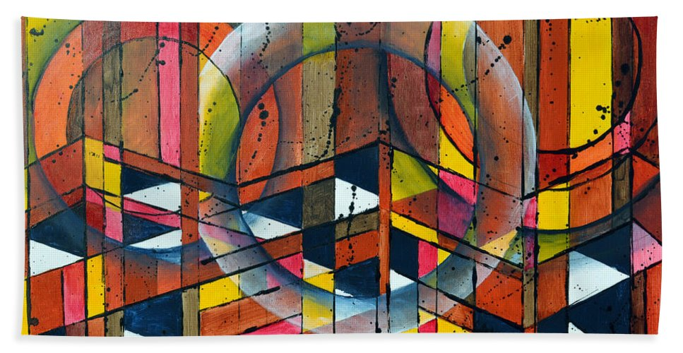 Abstract Beach Towel featuring the painting Cameronjam by James Pinkerton