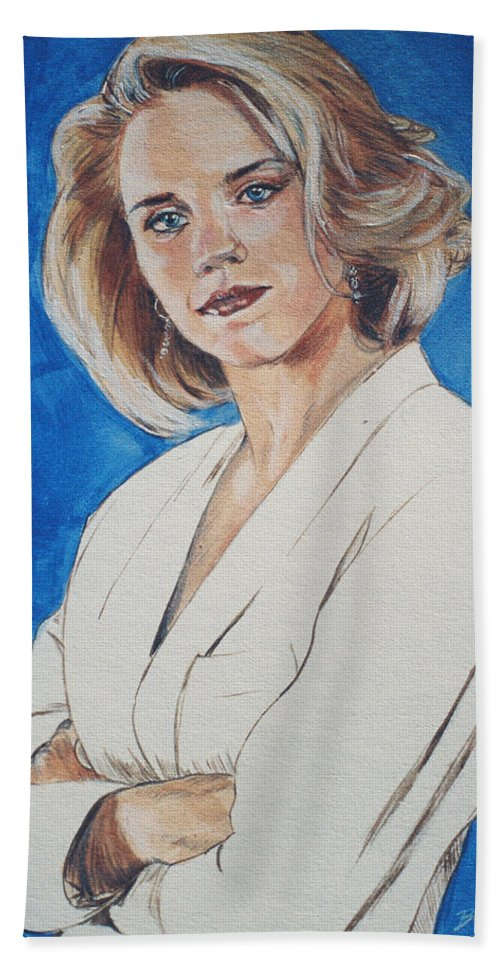 Cami Cooper Beach Towel featuring the painting Cami Cooper by Bryan Bustard