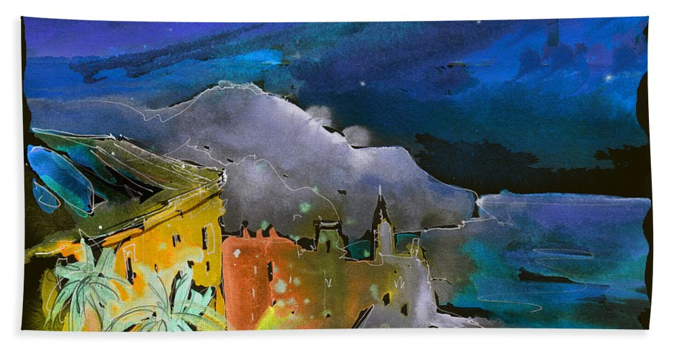 Italy Beach Towel featuring the painting Camogli By Night In Italy by Miki De Goodaboom