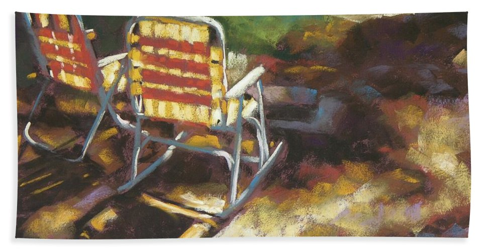 Camping Beach Towel featuring the painting Camp Rocker by Mary McInnis