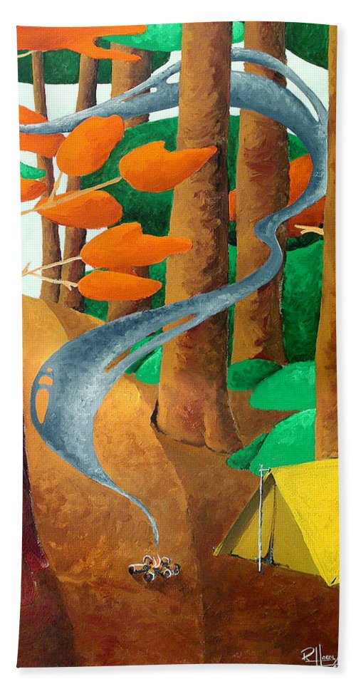 Landscape Beach Towel featuring the painting Camping - Through The Forest Series by Richard Hoedl