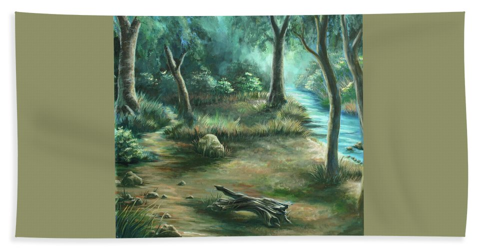 Landscape Beach Towel featuring the painting Camping At Figueroa Mountains by Jennifer McDuffie