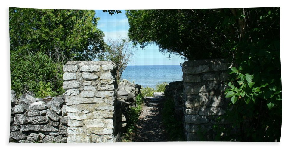 Cana Island Beach Towel featuring the mixed media Cana Island Walkway Wi by Tommy Anderson