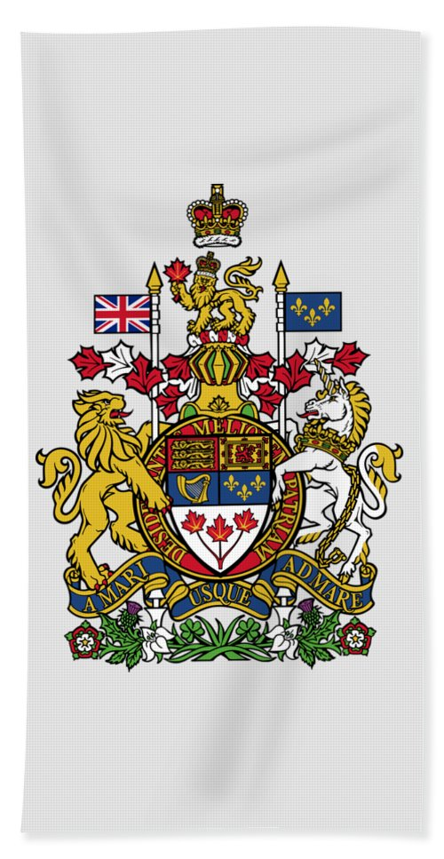 Canada Beach Towel featuring the drawing Canada Coat Of Arms by Movie Poster Prints
