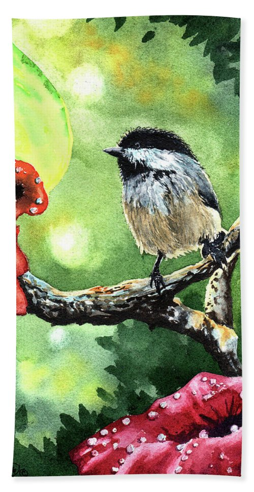 Morning Beach Towel featuring the painting Canadian Chickadee by Timithy L Gordon