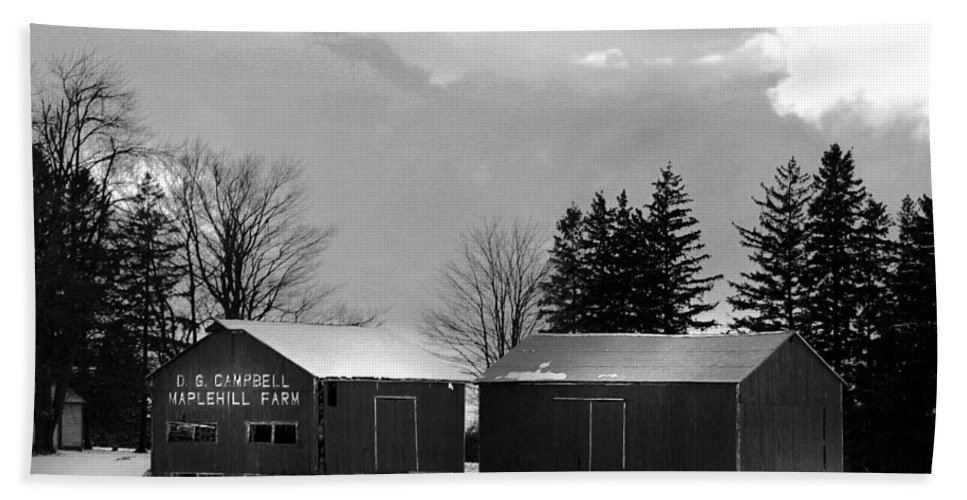 B&w Beach Towel featuring the photograph Canadian Farm by Anthony Jones