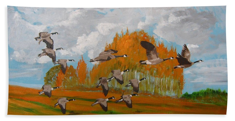 Canadian Geese Beach Towel featuring the painting Canadian Geese by Richard Le Page