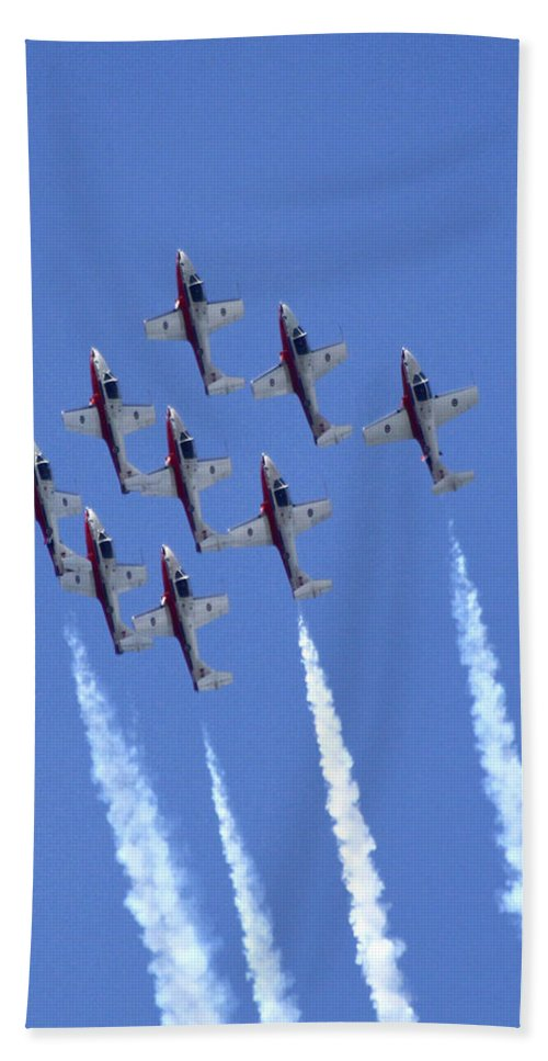 Canadian Snowbirds Beach Towel featuring the photograph Canadian Snowbirds by Steve Bell