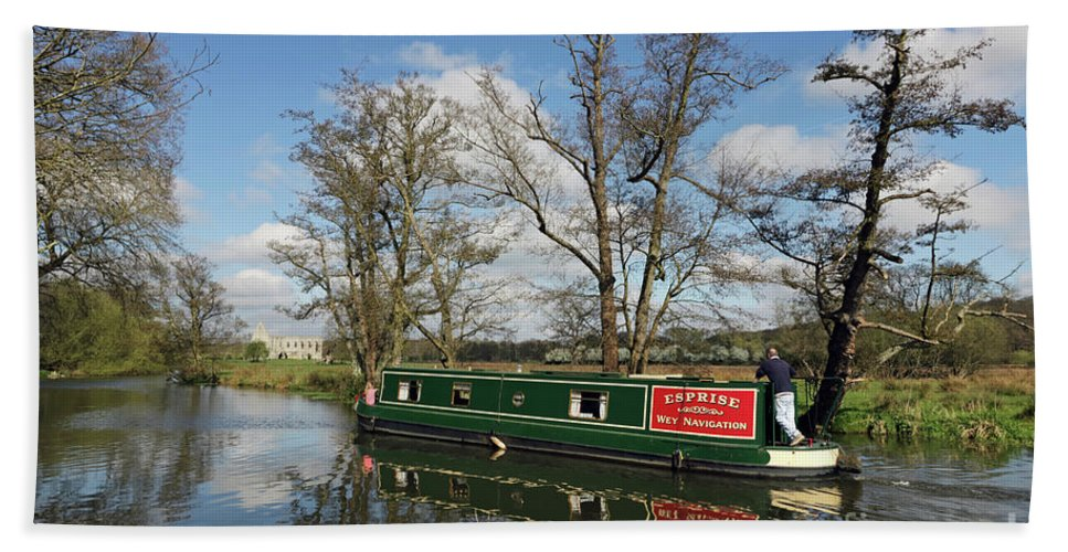Canal Boat Passes Beside Newark Priory On The Wey Navigations Surrey Beach Towel featuring the photograph Canal Boat On Wey Navigations by Julia Gavin