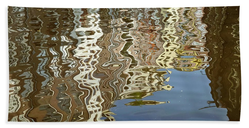 Amsterdam Beach Towel featuring the photograph Canal House Reflections by Joan Carroll