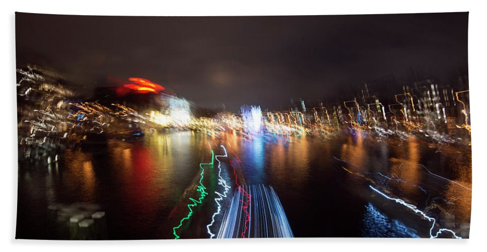 Travel Beach Towel featuring the photograph Canal Streaking Abstract by Matt Swinden
