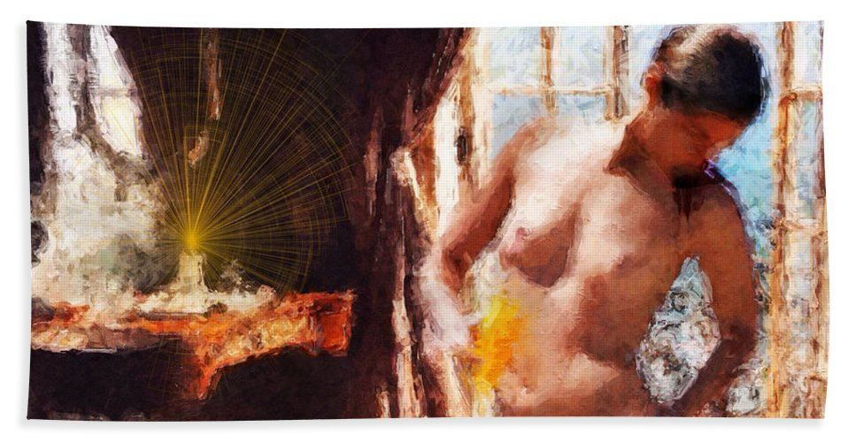Nude Beach Towel featuring the digital art Candle In The Sunlight by David Derr