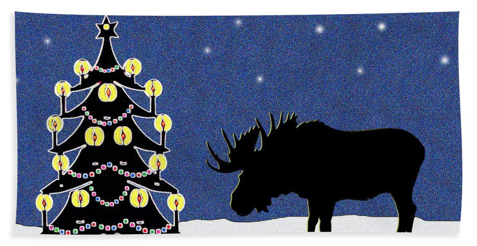 Moose Beach Towel featuring the digital art Candlelit Christmas Tree And Moose In The Snow by Nancy Mueller