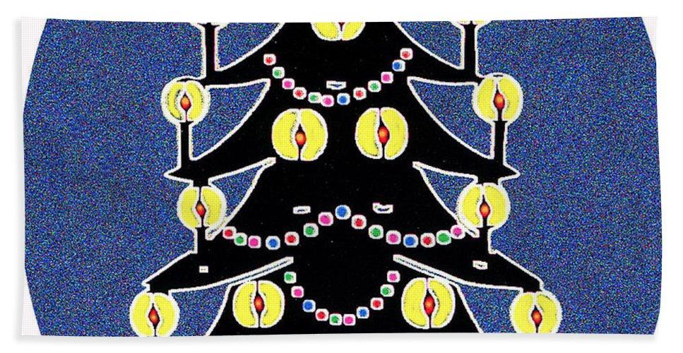 Christmas Beach Sheet featuring the digital art Candlelit Christmas Tree by Nancy Mueller