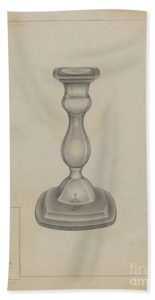 Beach Towel featuring the drawing Candlestick by Milton Grubstein