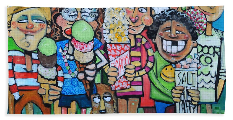 Candy Beach Towel featuring the painting Candy Store Kids by Tim Nyberg