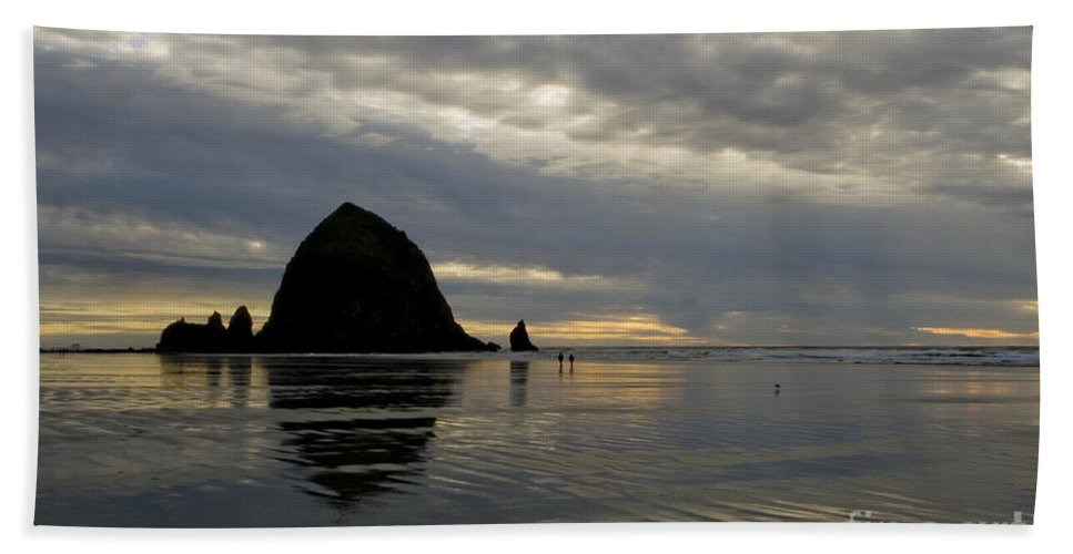 Cannon Beach Beach Towel featuring the photograph Cannon Beach Reflections by Bob Christopher