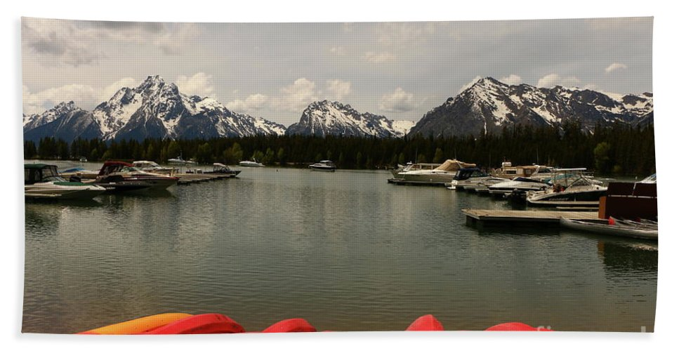 Sailing Boat Beach Towel featuring the photograph Canoe Meeting At Jackson Lake by Christiane Schulze Art And Photography