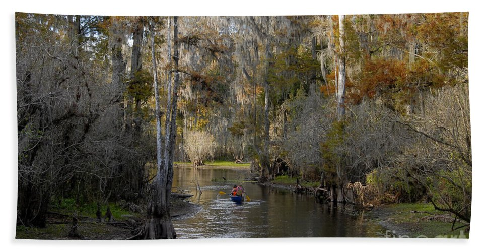 Family Beach Towel featuring the photograph Canoeing In Florida by David Lee Thompson