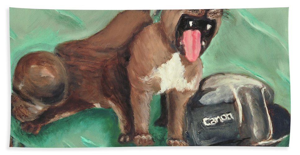 Dogs Beach Towel featuring the painting Canon Pups by Terry Lewey